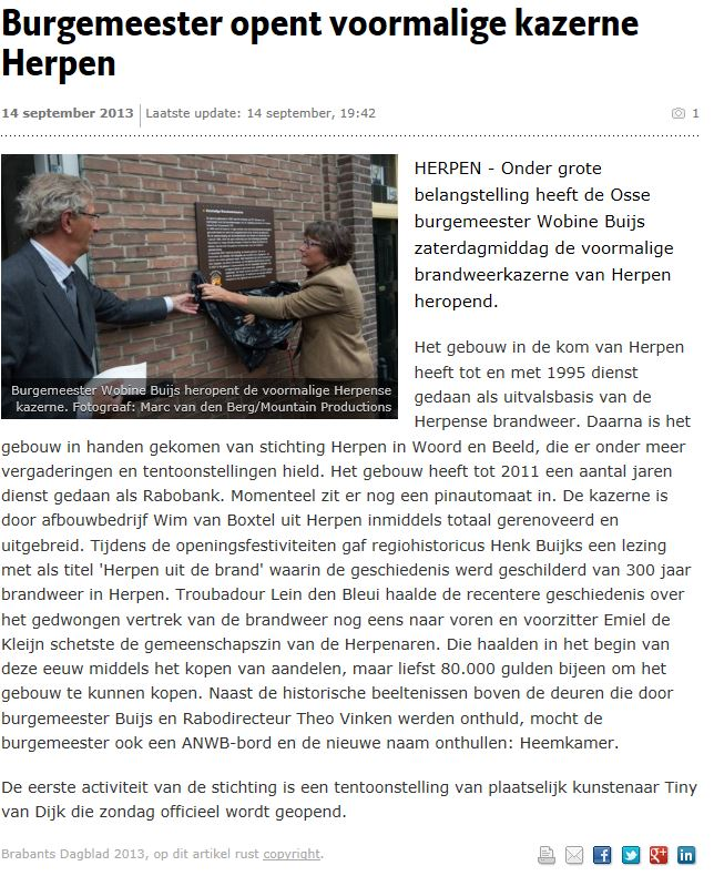 Burgemeester opent voormalige kazerne Herpen.